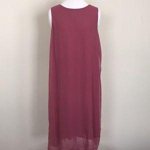 Eileen Fisher 100% silk maxi shift dress